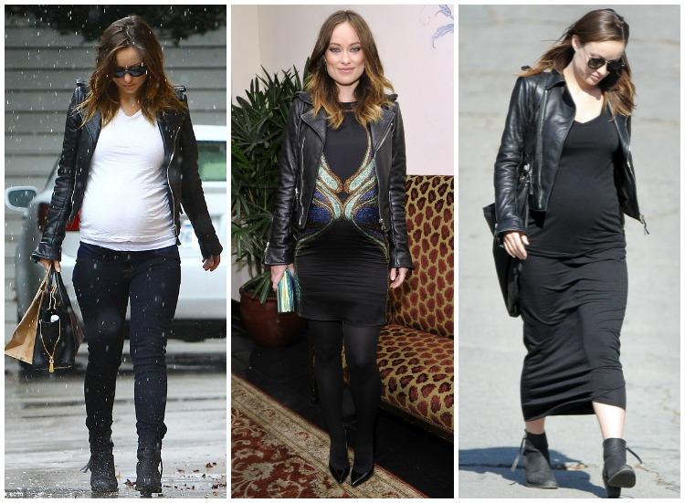 afa65f2332fe7 biker jacket. Get The Look: Olivia Wilde Maternity Style